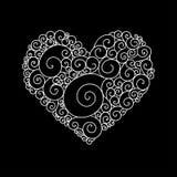 Det dekorativa kortet för hälsningen för StValentine ` s med blom- hjärta för färgrik zentangle skissar Vektorhjärtaillustration  Arkivfoton