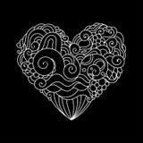 Det dekorativa kortet för hälsningen för StValentine ` s med blom- hjärta för färgrik zentangle skissar Vektorhjärtaillustration  Fotografering för Bildbyråer