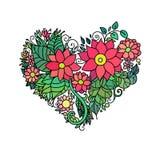 Det dekorativa kortet för hälsningen för StValentine ` s med blom- hjärta för färgrik zentangle skissar Vektorhjärtaillustration  Royaltyfri Fotografi