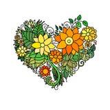 Det dekorativa kortet för hälsningen för StValentine ` s med blom- hjärta för färgrik zentangle skissar Vektorhjärtaillustration  Arkivbilder