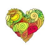 Det dekorativa kortet för hälsningen för StValentine ` s med färgrik zentangleklotterhjärta skissar Etnisk stam- krabb vektorhjär Royaltyfria Foton