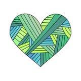 Det dekorativa kortet för hälsningen för StValentine ` s med färgrik zentangleklotterhjärta skissar Etnisk stam- krabb vektorhjär Arkivfoto