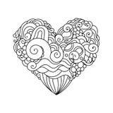 Det dekorativa kortet för hälsningen för StValentine ` s med färgrik zentangleklotterhjärta skissar Etnisk stam- krabb vektorhjär Arkivbilder