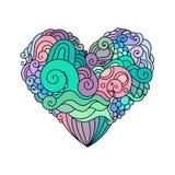 Det dekorativa kortet för hälsningen för StValentine ` s med färgrik zentangleklotterhjärta skissar Etnisk stam- vektorhjärta Arkivfoto