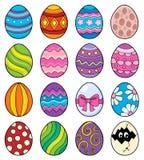 Det dekorativa temat för påskägg ställde in 1 stock illustrationer