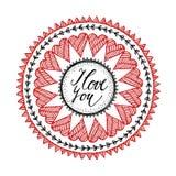Det dekorativa valentindag- eller bröllopkortet med handen dragen zentangle inspirerade mandalaen, förälskelsebegrepp Arkivbilder