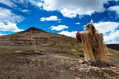 Det dekorerade korset och kullen ovanför Abra Oquepuño i Anderna, sydliga Peru Royaltyfri Fotografi