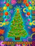 Det dekorerade trädet för glad jul semestrar berömbakgrund Royaltyfria Bilder