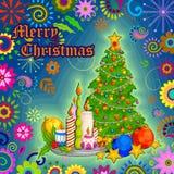 Det dekorerade trädet för glad jul semestrar berömbakgrund Arkivfoton