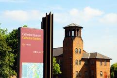 Det Derby Cathedral tecknet och silke maler royaltyfri bild