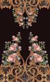 Det djura trycket blommar barock design royaltyfri foto