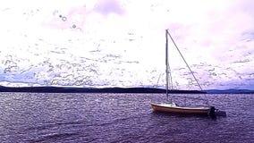 Det drog upp konturerna av ferieseglingskeppet ankrade i fjärd på bakgrund för molnig himmel och horisonti vattenfärgmålning stock video