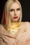 Det eleganta barnet modellerar med långt blont hår och guld- folie på henne Arkivfoton
