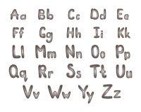 Det engelska alfabetet gjorde €‹ av bultar och muttrar Stålbokstäver Royaltyfri Bild