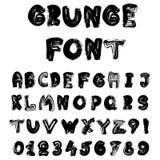 Det engelska alfabetet i grungestil - bränna till kol efterföljd Arkivbild