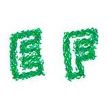 Det engelska alfabetet som göras med gräsplansidor, sommartema, märker E F Royaltyfri Bild