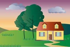 Det ensamma huset på solnedgången royaltyfri illustrationer