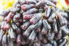 Det extra jumboformatet av den svarta kärnfria månen tappar druvan, eller häxan fingrar druvan som är till salu på fruktmarknaden royaltyfri foto