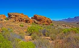 Det färgade landskapet av rost vaggar i Cederberg royaltyfri fotografi