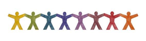 det färgglada folket row standing Arkivbilder