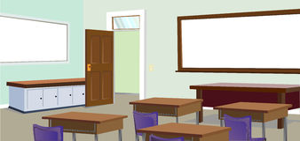 Det färgglade klassrumet Arkivfoton