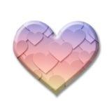 Det färgglade symbolet för valentinförälskelsehjärta med droppe skuggar Arkivbild