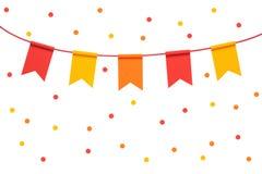 Det färgrika buntingpartiet sjunker och konfettier på whit Royaltyfri Bild