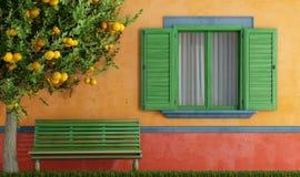 Det gammala huset med gröna fönster tar av planet och treen stock illustrationer
