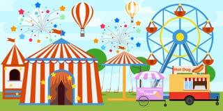 Det färgrika ganska tältet och ferris rullar in nöjesfältet Tecknad filmnöjesfält med cirkusen, karuseller royaltyfri illustrationer