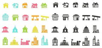 Det färgrika konturhuset, kyrka, den shoppar, byggande och annan baren stock illustrationer