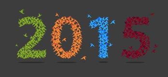 Det färgrika 2015 nya året med origami skyler över brister fågeln Abstrakt begrepp vektor Arkivbild