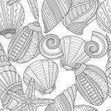 det fästande ihop isolerade banahavet shells white Svartvit sömlös modell för färgläggningbok Royaltyfri Foto