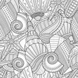 det fästande ihop isolerade banahavet shells white Svartvit sömlös modell för färgläggningbok, Arkivbild