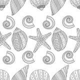 det fästande ihop isolerade banahavet shells white Svartvit sömlös modell för färgläggningbok, Fotografering för Bildbyråer
