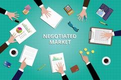 Det förhandlade marknadsmarknadsföringslaget arbetar tillsammans vektor illustrationer