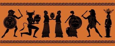 Det första sex tecknet av zodiaken som myter av forntida Grekland i dekorativ gräns vektor illustrationer