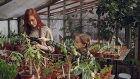 Det förtjusande barnet räknar blommor i växthus, medan hennes moder skriver in data i minnestavla och talar till hennes dotter arkivfilmer