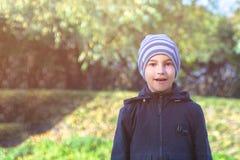 Det förvånade barnet i parkerar för går i höst fotografering för bildbyråer