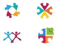 Det fackliga gemenskapfolket att bry sig logo- och symbolmallen Royaltyfria Bilder