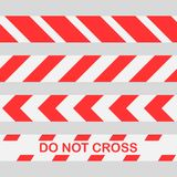 Det fastställda röda varnande bandet korsar inte linjen varningsband Sömlös uppsättning för polisvarningsband stock illustrationer