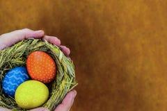 Det festliga hälsningkortet easter tre målade ägg med orange guling för blom- prydnad slösar i ett rede på en suddig träbakgrund royaltyfri foto