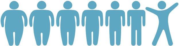 det feta konditionförlustfolket gör tunnare för att weight Royaltyfri Bild