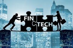 Det finansiella teknologibegreppet för fintech med pusselstycken Fotografering för Bildbyråer