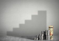 Det finansiella tillväxtbegreppet, pengar med moment skuggar Royaltyfria Foton