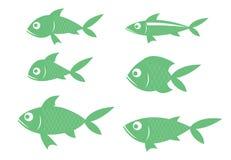 Det finns många art av fisken, gröna rader länge stock illustrationer