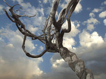 Det finns träd och moln av landskap Royaltyfri Foto