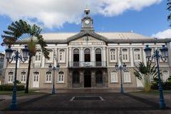 Det forntida stadshuset av den Fort-de-France- och Aime Cesaire teatern Fort de France är huvudstaden av den Martinique ön Fotografering för Bildbyråer