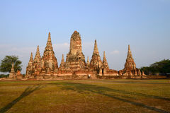 Forntida tempel i Thailand, Wat Chaiwatthanaram Arkivbild