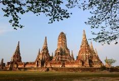 Forntida tempel i Thailand, Wat Chaiwatthanaram Fotografering för Bildbyråer
