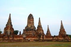 Forntida tempel i Thailand, Wat Chaiwatthanaram Arkivfoto